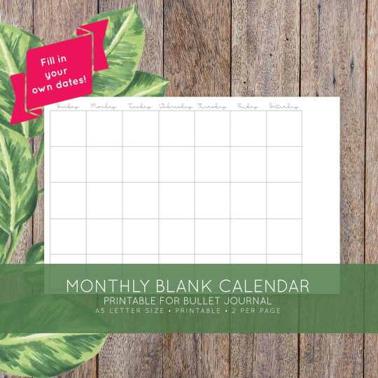 Blank Calendar No Dates And Months : Monthly printable calendar laura kinker designs