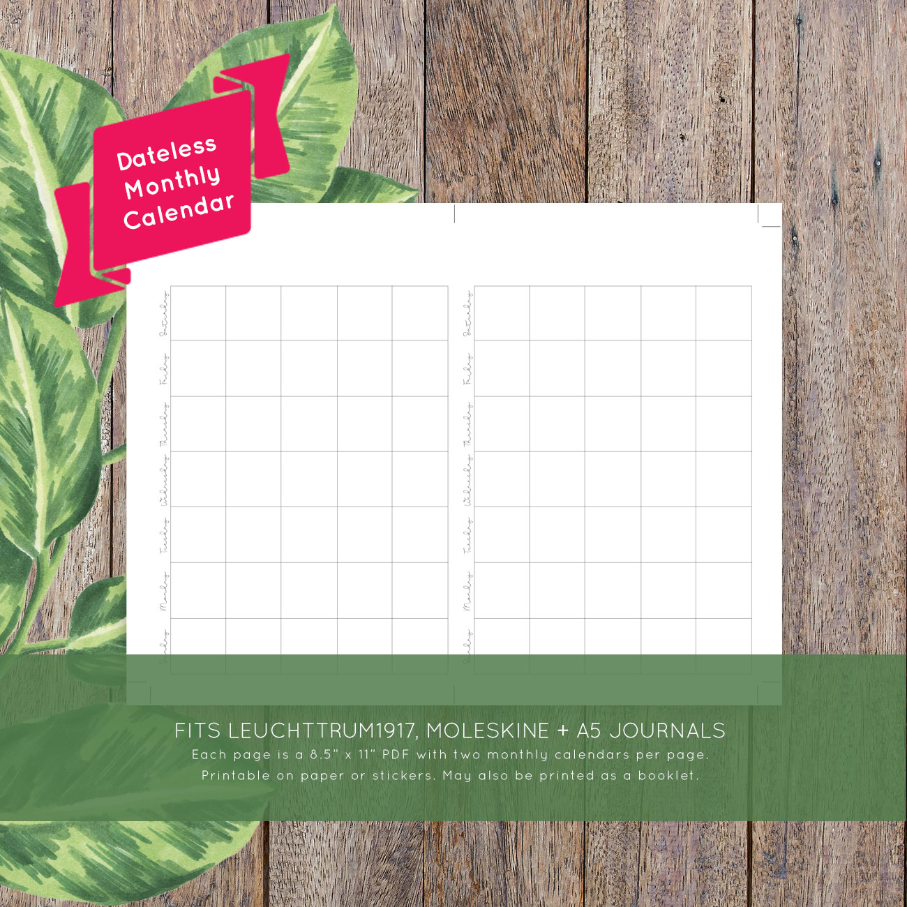 Monthly Calendar No Dates : Blank monthly printable calendar laura kinker designs