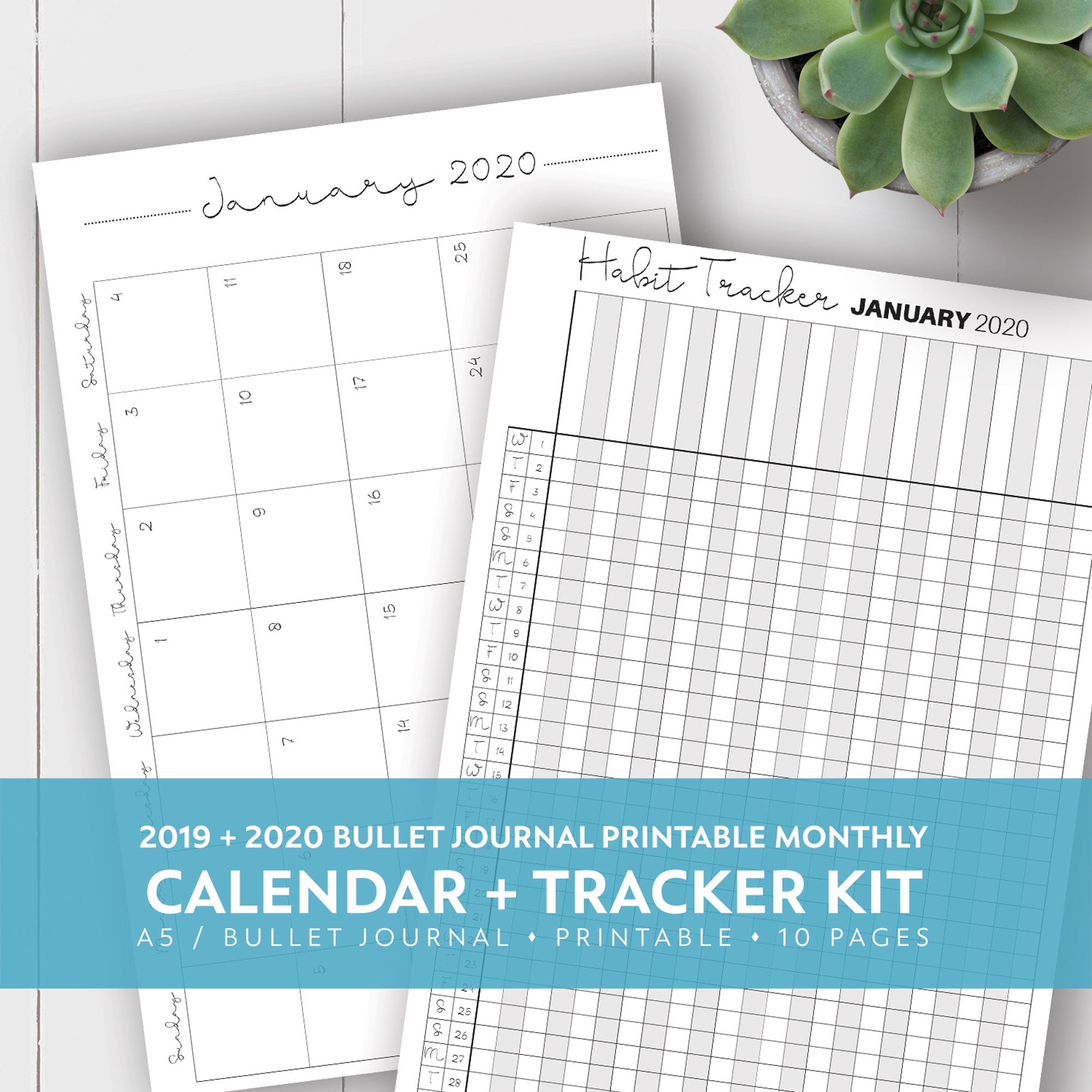 picture relating to Monthly Printable Calendar identified as 2019 + 2020 Regular monthly Printable Calendar + Behavior Tracker Package