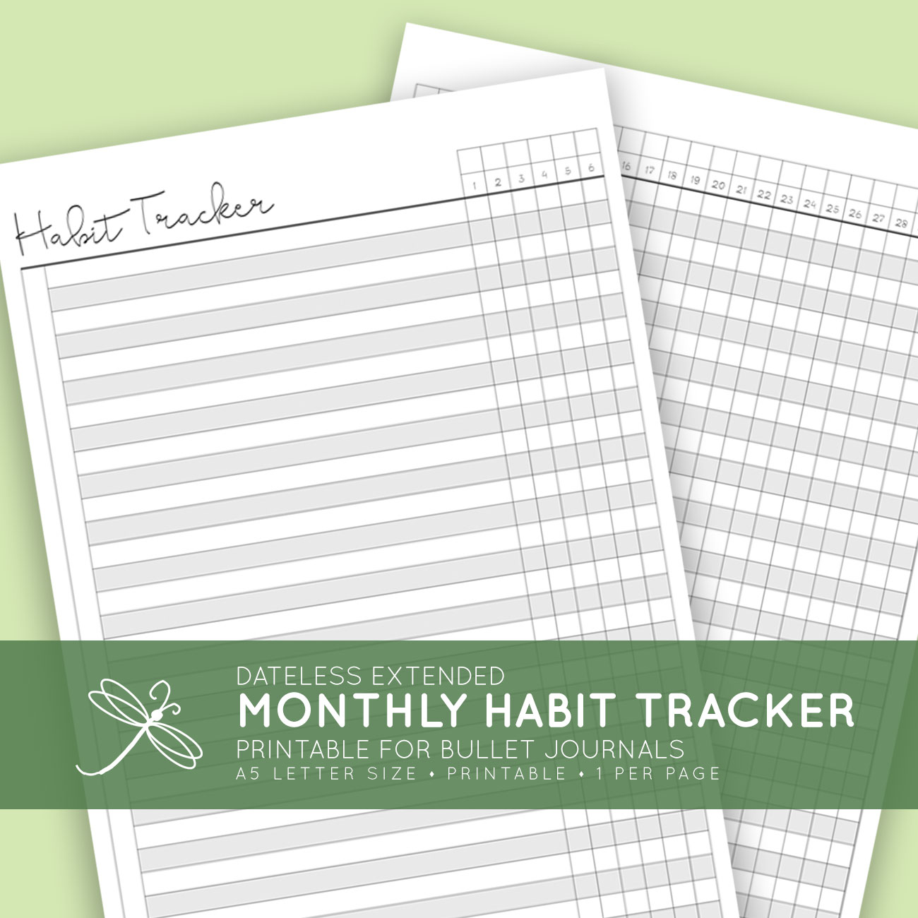 graphic about Bullet Journal Habit Tracker Printable known as Dateless Printable Every month 2 Website page Behavior Tracker