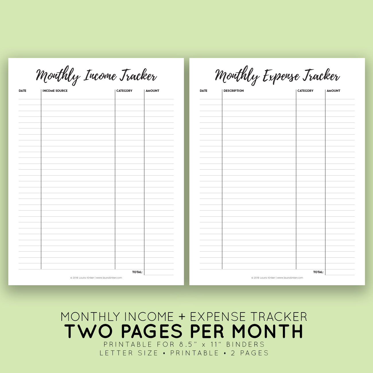 picture regarding Printable Expense Tracker referred to as Printable Month-to-month Gross sales + Price tag Tracker Laura Kinker