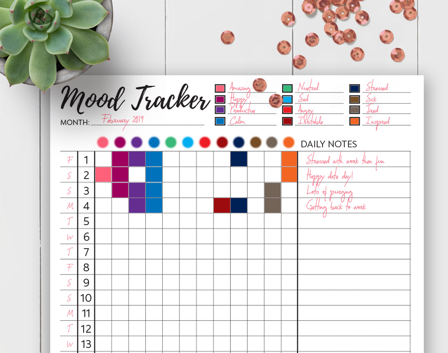 photograph regarding Printable Mood Tracker identified as Slumber + Temper Trackers